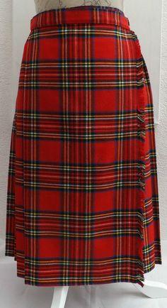 Vintage Royal Stuart Tartan Kilt 27 Waist 25 5 Long Made In Uk