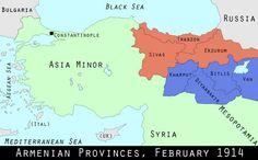 World War I Centennial: Origins of the Armenian Genocide | Mental Floss  *Armenian Provinces, February 1914*