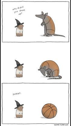 why didn't you dress up / lizclimo :: animals :: Halloween :: costume :: armadillo :: comics (funny comics & strips, cartoons) Funny Animal Comics, Cute Funny Animals, Animal Memes, Funny Comics, Funny Cute, Hilarious, Funny Memes, Funny Stuff, Animal Jokes