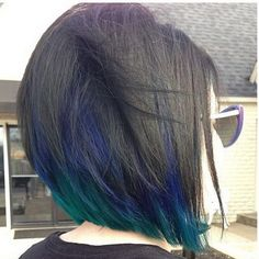 Cute Bob Haircut with Ombre Blue Highlights.