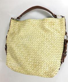 b93b7f51eea8 Tano Light Green Woven Leather Slouchy Hobo Large Shoulder Bag Handbag Tote   Tano  ShoulderBag