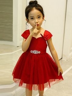 Classical red dress, party or wedding are all okay. Baby In Wedding Dress, Baby Dress, Dress Up, Pretty Clothes, Pretty Outfits, Cute Girl Dresses, Kids Frocks, Children Clothing, Matching Outfits