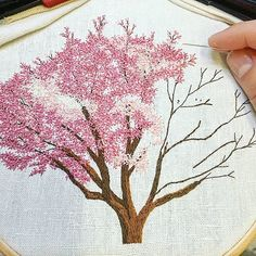 Work in progress  . . . . . . . . . . . . . . #magnolia #pinktree #arbrerose #rose #pink #tree #arbre #campagne #countryside #greenlife #making #inprogress #handembroidery #embroidery #embroideryart #broderie #broderiemain #handmade #faitmain #brodeuse #embroiderer #embroidered #bordado #madeinfrance #delphil #tatoueusedetissu© #modernembroidery #contemporaryembroidery #embroideryinstaguild #embroiderylove