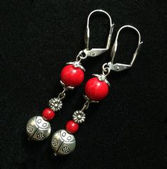 Red earrings, valentine's day gift for her. Charm earrings, ladybug earrings, ladybug charm.