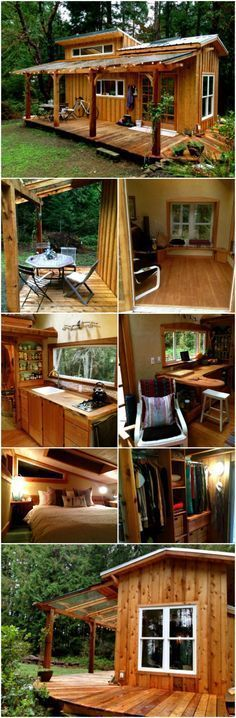 ⇒ Diy ideas for tiny house decor. There are tiny houses for every style, for every mood … but I am a big fan of the rustic log cabin look. Maybe it is because that style of architecture immediately puts me in mind of a cozy retreat…. Tiny Cabins, Tiny House Cabin, Log Cabin Homes, Cabins And Cottages, Tiny House Living, Tiny House Plans, Tiny House Design, Rustic Cabins, Small Rustic House