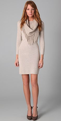 0a7002de9c Fifi Sweater Dress with Fringed Scarf
