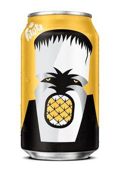 Fanta Halloween Can - designed by NOMA BAR /// - #Frankenstein #Pineapple #packaging