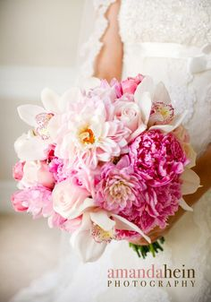 Featured Bouquet | Pink Peony, Orchid   Dahlia Bouquet | Naperville Wedding Florist  BOUQUET BY KIO KREATIONS, photo by AMANDA HEIN PHOTOGRAPHY