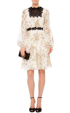 Long Sleeved Daisy Georgette Dress by GIAMBATTISTA VALLI Now Available on Moda Operandi