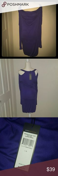 BCBG dress NWT size large Long sleeve Super fun jersey dress by BCBG. Brand new!! Cowl neck, dropped waist. Long sleeve.  Color is Persian Blue-- lots of purple tone BCBGMaxAzria Dresses