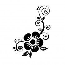 Bloemen met swirls 1 muursticker raamsticker Tole Painting Patterns, Stencil Patterns, Stencil Designs, Hand Embroidery Flowers, Hand Embroidery Designs, Embroidery Patterns, Flower Pattern Design, Flower Designs, Pre Decorated Christmas Tree