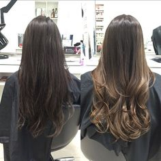 Ashy brown balayage colour. #beforeandafter #balayage #hairpainting #ombré #beautiful #colourmelt #brunette #brown #colour #lightbrown #ash  #dimension #longhair #haircut #curls #colourspecialist #fatehairsalon #burlington #whosnext