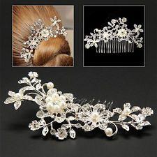 Flower Pearls Hair Comb Clip Bridal Wedding Party Diamante Rhinestone Cryatsl UK