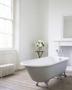 Grey roll top bath and white decor bathroom design. Georgian Interiors, Georgian Homes, Large Bathrooms, Small Bathroom, Family Bathroom, Bathroom Ideas, Moroccan Tile Bathroom, Bedroom With Bath, Victorian Bathroom