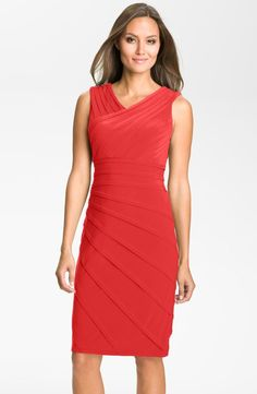 V-Neck Shutter Pleat Sheath Dress, Perfect For The Mother of the Bride