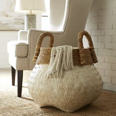 This beauty is called the belly basket. Natural hand woven bamboo.  Pier 1 imports.