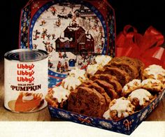 Classic fall recipe favorites: Pumpkin spice cookies & pumpkin nut bread (1982) #classicrecipes #vintagerecipes #pumpkincookies #pumpkinspice #pumpkinbread #libbys #classicpumpkinrecipes #christmasrecipes #quickbread #pumpkinnutbread #fallrecipes #thanksgivingrecipes #thanksgivingsnacks #80s