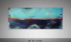 Large 48 by 20 Abstract Painting Original Landscape by Itisfine, $285.00