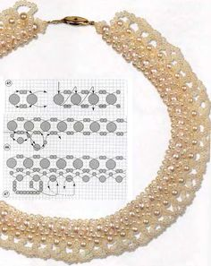 Free tutorial by diagram: pearl necklace of beads - bead sizes: To work you need: white pearl beads 4mm diameter 15 g, 3 mm - 10 g, 2 mm - 40 g white beaded number 10 - 10 g, nylon thread, needle № 11-12.
