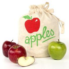 SALE OFF APPLES: Handmade reusable eco friendly fresh fruit produce storage bag. Produce Storage, Fruit Storage, Diy Storage, Storage Baskets, Fresh Herbs, Fresh Fruit, Kitchen Waste, Smart Kitchen, Apple Harvest