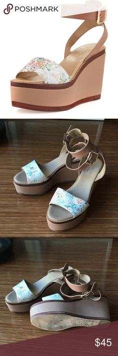 """Nicole Miller Ankle-Wrap Barbados Platform Sandal Nicole Miller Ankle-Wrap Platform Barbados platform sandal. 4"""" covered wedge heel with 2"""" platform. These sandals have been worn only once and are in great condition. Nicole Miller Shoes Platforms"""