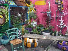 Colourful back garden