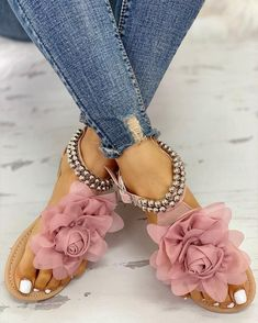 Mesh Floral Embellished Beaded Flat Sandals Shop- Women's Best Online Shopping - Offering Huge Discounts on Dresses, Lingerie , Jumpsuits , Swimwear, Tops and More. Oxford Shoes Heels, Women Oxford Shoes, Heeled Sandals, Flat Sandals Outfit, Shoes Sandals, Flat Shoes, Shoes Women, Strap Sandals, Leather Sandals