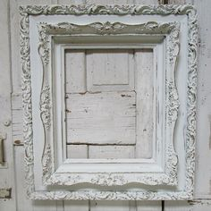 Large white frame wall hanging hand painted by AnitaSperoDesign