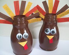 "Thanksgiving kids craft- milk bottle turkey with ""thankful feathers"". Holiday Crafts, Holiday Fun, Fun Crafts, Crafts For Kids, Holiday Ideas, Recycled Crafts Kids, Edible Crafts, Autumn Activities, Craft Activities For Kids"