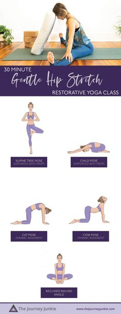 30 Minute Restorative Yoga for a Gentle Hip Stretch - The Journey Junkie Morning Yoga Workouts, Beginner Yoga Workout, 30 Minute Yoga, Free Yoga Classes, Yoga Routine For Beginners, Yoga Illustration, Hip Stretches, Gentle Yoga, Yoga At Home
