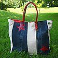 Sac Collection Jean/Lin Sardine & Cie Jean avec lacets en cuir Côtés en lin Doublure rouges Etoilesrouge en cuir 2 poches...