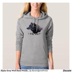 Alpha Grey Wolf Head Wildlife Hoodies and Tees