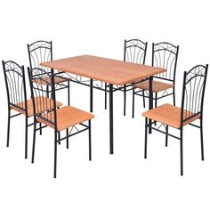 Home Dining Set Table Chairs Wooden Dining Room Contemporary Kitchen 7 Pcs Brown Wooden Dining Tables, Dining Table Chairs, Kitchen Chairs, Dining Room Furniture, Corner Dining Set, 7 Piece Dining Set, Solid Wood Table Tops, Furniture Arrangement, Home Kitchens