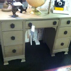 Desk painted in homemade chalk paint