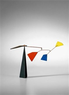 RED, BLUE, YELLOW ON BLACK PYRAMID By Alexander Calder ,1958