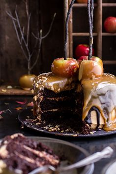 Salted Caramel Apple Snickers Cake recipe at Half Baked Harvest. Fall Desserts, Just Desserts, Delicious Desserts, Dessert Recipes, Yummy Food, Apple Recipes, Fall Recipes, Snickers Cake, Half Baked Harvest