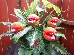 This seems like a good dyi. A fake plant with sculpted and painted foam balls on bamboo skewers. The teeth could be made by cutting  up a milk jug and painting them.