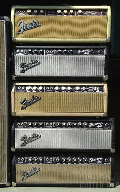 Fender Bassman (Bassmen?) and Showman (Showmen?) heads. I miss my Bassman. Too bad that thing caught fire randomly one day at practice.