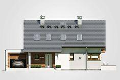 Rumba IV. Dom z poddaszem użytkowym, garażem i zadaszonym tarasem. Studio Atrium House Design, Outdoor Decor, Home Decor, Decoration Home, Room Decor, Architecture Design, Home Interior Design, House Plans, Home Design
