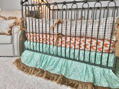 Orange and Grey Arrowhead, Mint Aztec, Burlap, Ivory with Gold Arrows, and Tan Plaid Crib Bedding Crib Bedding Boy, Linen Bedding, Bed Linens, Pottery Barn Teen Bedding, Orange Bedding, Baby Design, Luxury Bedding, Cribs, Mattress
