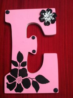 Painted Wooden Letter E