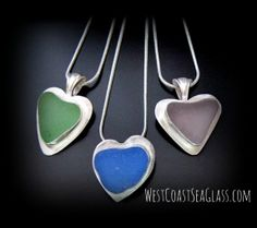 WestCoastSeaGlass - Sea Glass Heart Shaped Jewelry, Seaglass found tumbled by the ocean into these exact shapes.