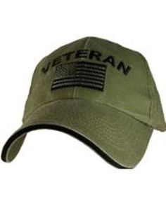 01f8d558bb9 U.S. Army Veteran with Flag OD Green Baseball Cap Hat Green Baseball Cap