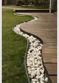 Pebble decking border