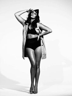 Plus size model Candice Huffine poses for S Moda