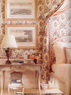 I love an all-over print in a bedroom, especially a toile. http://clunygrey.blogspot.com