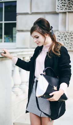 Olivia Purvis is wearing the all within the Mod Fashion Trend 2014, coat, jumper, skirt, shoes and bag from New Look