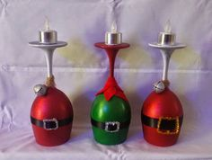 Hand painted wine glass that are decorate to look like Santa, Elf, Grinch and so much more. These wine glasses are to hold a candle on top.