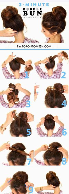 Toronto, Calgary, Edmonton, Montreal, Vancouver, Ottawa, Winnipeg, ON: 2 Minute Bubble Bun Hairstyle Tutorial