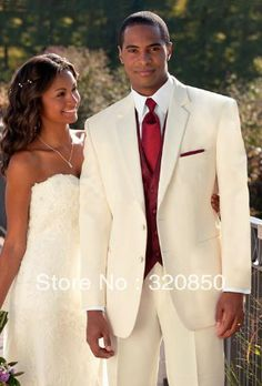 Free shipping/Custom Made Ivory Suit/Burgundy Vest Groom Tuxedos Best Man Notch Lapel Groomsmen Men Wedding Suits Bridegroom(China (Mainland...